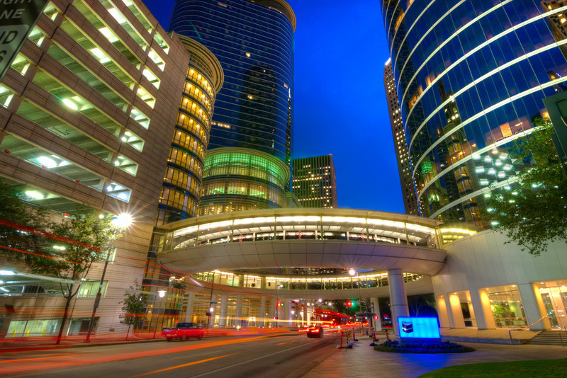 This is a wider view of the Pedestrian Ring at Smith Street & 1500 Louisiana Street in downtown Houston. It a great place of converging lines and colors. Photo by TIm Stanley Photography.