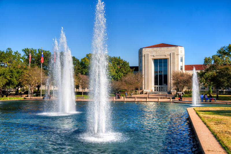 The Ezekiel W. Cullen Building and fountains are one of the