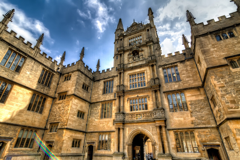 The tall tower of the Schools Quadrangle in Oxford, forms the main entrance to the Bodelian Library and is known as the Tower of the Five Orders. Photo by Tim Stanley Photography