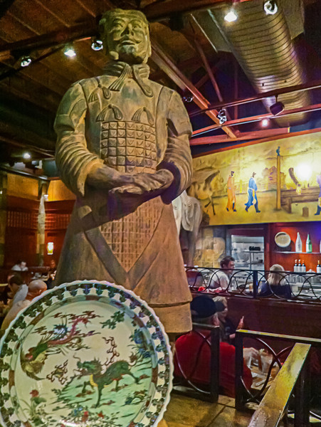 Every War Horse needs a soldier to lead him into battle. At the local P.F. Chang restaurant, they both stand watch over their area, ready just in case battle calls. Photo by Tim Stanley Photography.