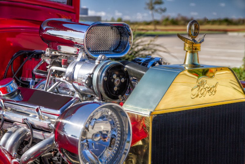 This 1929 Ford Model T hotrod, at a recent car show in Pearland, Texas, has the chrome to make this auto stand out. Photo by Tim Stanley Photography.