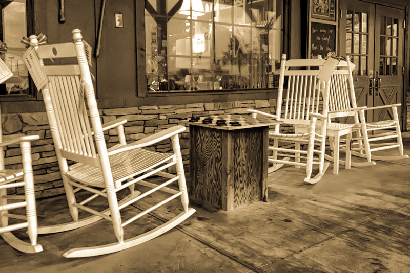 Put a checker board in front of a few rocking chairs and you immediately think a simpler time when things moved at a slightly slower pace than the lives most of us live today. These chairs were in front of a Cracker Barrel restaurant in Rosenburg, TX. Photo by Tim Stanley Photography