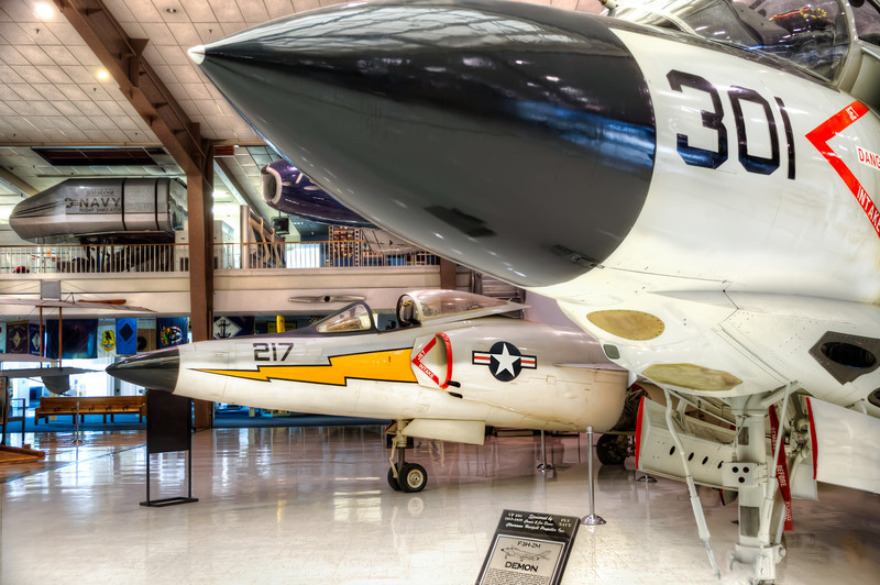 Here the F3H DEMON and behind it, the more successful F2H-4 BANSHEE are on display, at the National Naval Aviation Museum in Pensacola, Florida. Photo by Tim Stanley Photography.