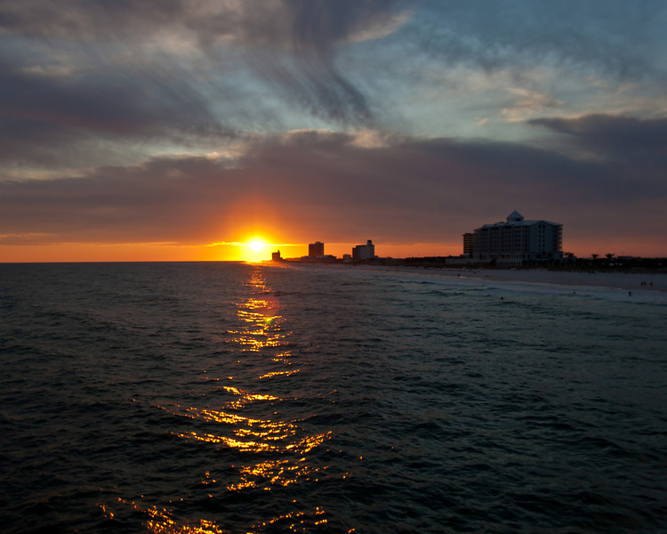 A sunset over Pensacola, Florida, taken from the Pensacola Fishing Pier.