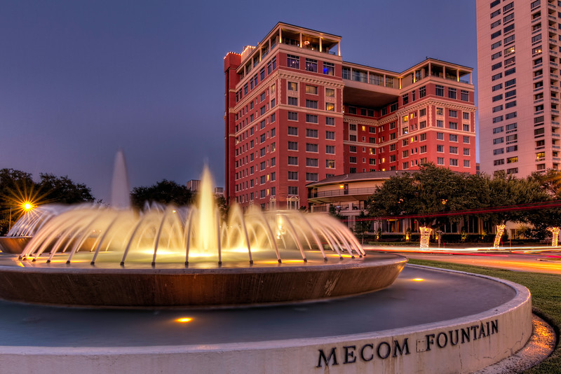 The Hermann Park area in Houston is full of city history. With Hermann Park, the Zoo, Miller Outdoor Theater and more, there is a lot to see and do. As you enter the park, you pass by the Mecom Fountain and the Hotel ZaZa. Photo by Tim Stanley Photography.