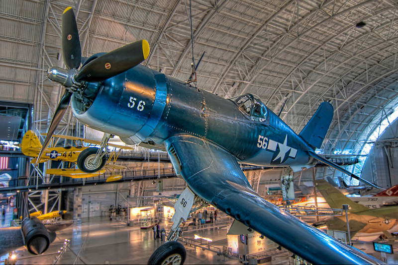 WWII had the first airplanes that people really feared, both in the air and from the ground. This F4U-1D Corsair is on display at the Steven F. Udvar-Hazy Center. Photo by Tim Stanley Photography.
