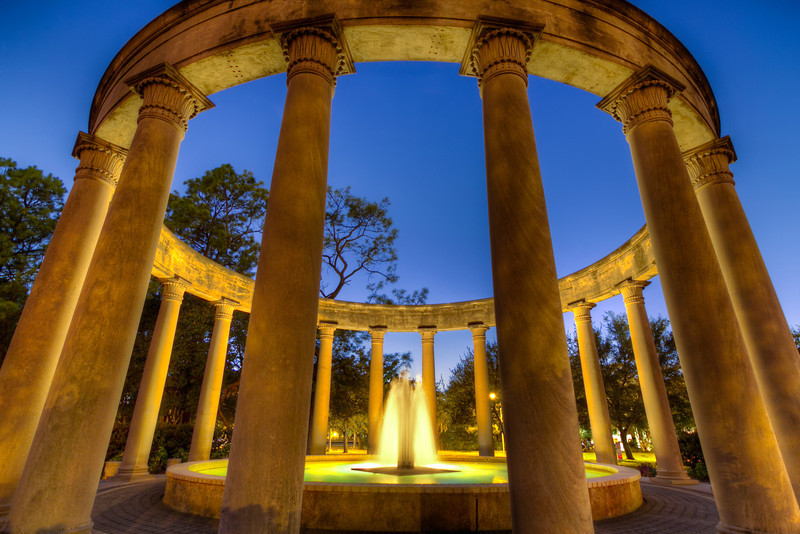Between the Natural Science Museum and the larger Mecom Fountains, you can find the Mecom Rockwell Colonnade and Fountain. The evening I was there, a photo session for a wedding couple was in full swing. I had to return after dark to take make my images. I think it was worth the wait. Photo by Tim Stanley Photography.